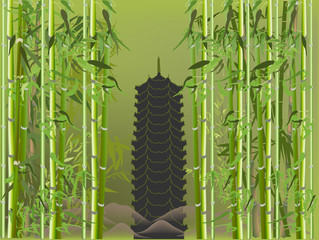 pagoda in green bamboo illustration