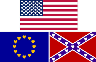 flags with hearts