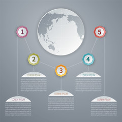 Five steps vector 3D infographic template with world map.