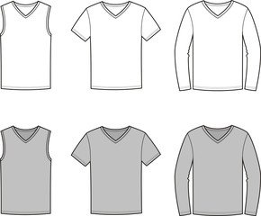 Vector illustration of men's singlet, t-shirt, jumper