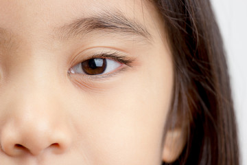 Close up of little Asian child's eye