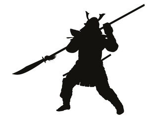 Samurai warrior with halberd detailed vector silhouette. EPS 8