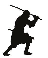 Ninja warrior with sword detailed vector silhouette. EPS 8