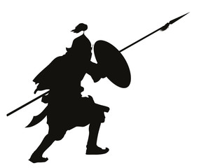 Oriental warrior with shield and spear vector silhouette