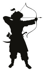 Oriental archer with bow and arrow  vector silhouette. EPS 8