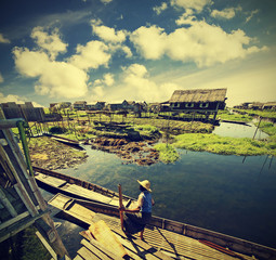 Village on water, Inle Lake, Burma (Myanmar), vintage retro.