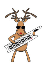 Christmas reindeer plays klavitare