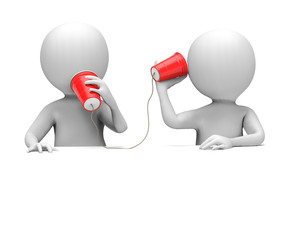 3D Men with Plastic Cup Telephone