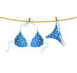 Bikini suit with white dots hanging on rope - 67187617