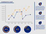 Business template - comparative charts, icons and editable text