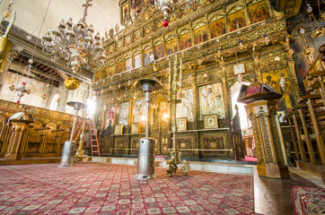 Church of the Nativity interior, Bethlehem, Israel