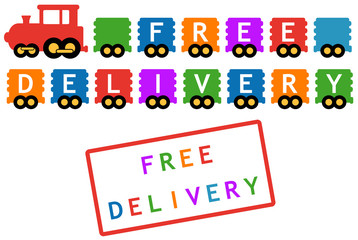 free delivery symbol - train with colorful car
