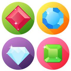 Flat Precious Gemstones Icons X4