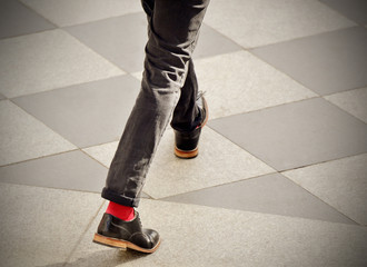 Man with red socks