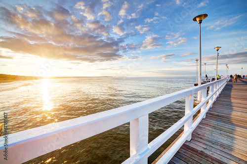 Beautiful retro pier at sunset. Gdansk Brzezno, Poland - 67188417