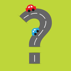 Background with road in shape of big question mark cartoon cars