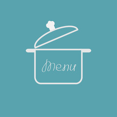 Menu cover with open saucepan. Flat design style.