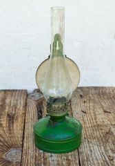 Green kerosene lamp