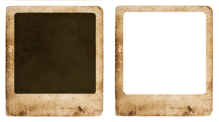 aged paper photo frame isolated on white background