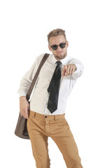young handsome businessman pointing at camera on white