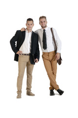two young handsome businessmen standing isolated onwhite