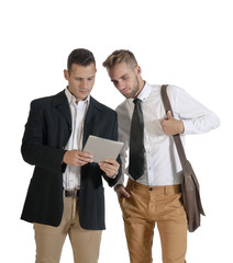 two young handsome gay businessmen standing isolated on white