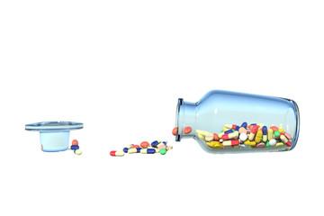 ビンが倒れてこぼれる薬