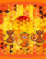 Tigers and lion - a circus poster background