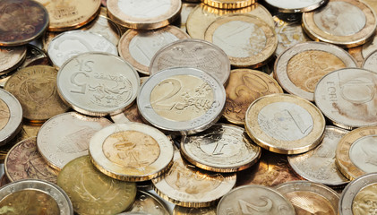 Old european coins background