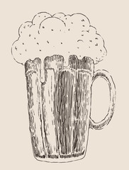 pint of beer vintage engraved illustration, hand drawn