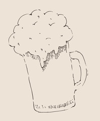 pint of beer vintage engraved illustration, hand drawn, sketch