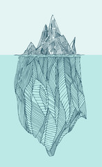 iceberg vintage engraved illustration, hand drawn, sketch