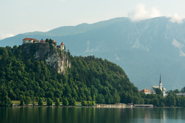 Bled castle with Julian Alps on background, Slovenia