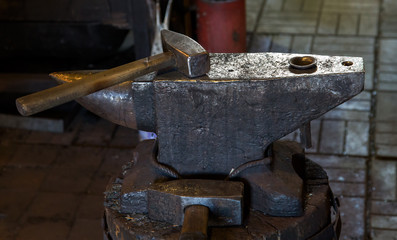 anvil in smithy with gavel