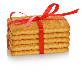 Stack of cookies tied with red ribbon