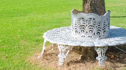 White cast iron chair built in circle around a tree