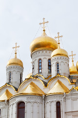 gold domes of Annunciation Cathedral in  Moscow Kremlin