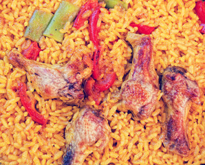 Spanish national cuisine - a paella with chicken