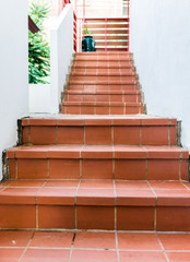 Red brick staircase