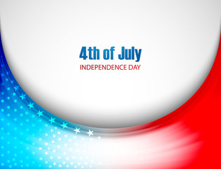 Beautiful American Flag 4th of july stylish wave background vect