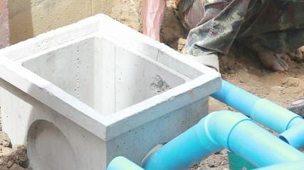 worker install asbestos pipe