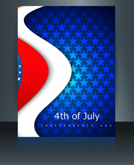 Beautiful 4th of july United States of America brochure with tem