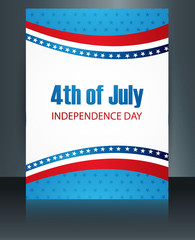 4th july american independence day template brochure wave vector