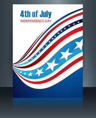 Vector Brochure American flag independence day template card wav