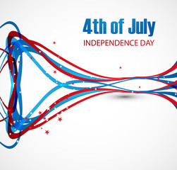 Vector wave 4th of july beautiful american independence day desi