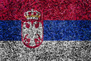 Serbia Flag color grass texture background