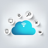Cloud computing background with web icons. Social network.