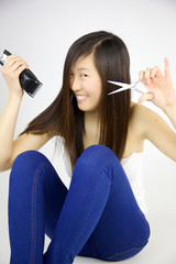 Asian woman happy about going to cut long hair