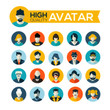 set of 20 flat design avatars icons, for use in mobile applicati