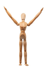 Wood mannequin on white background